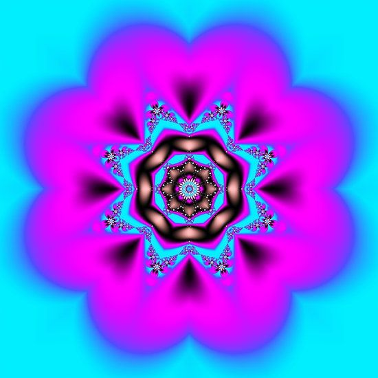 Pink and Blue Kaleidoscope Fractal by Tracey Lee Art Designs
