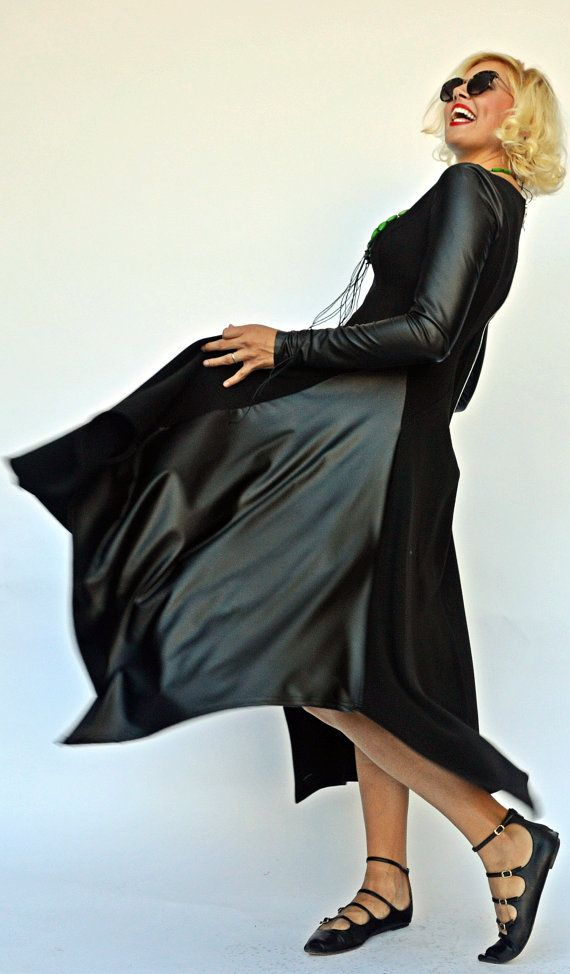 Black Maxi Dress with Eco Leather Sleeves / Extravagant by Teyxo