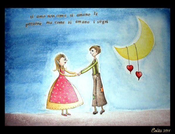 """""""Ti amo come..."""" Pastelli acquerelli e ritagli di giornale su carta di Evita Cantoni"""