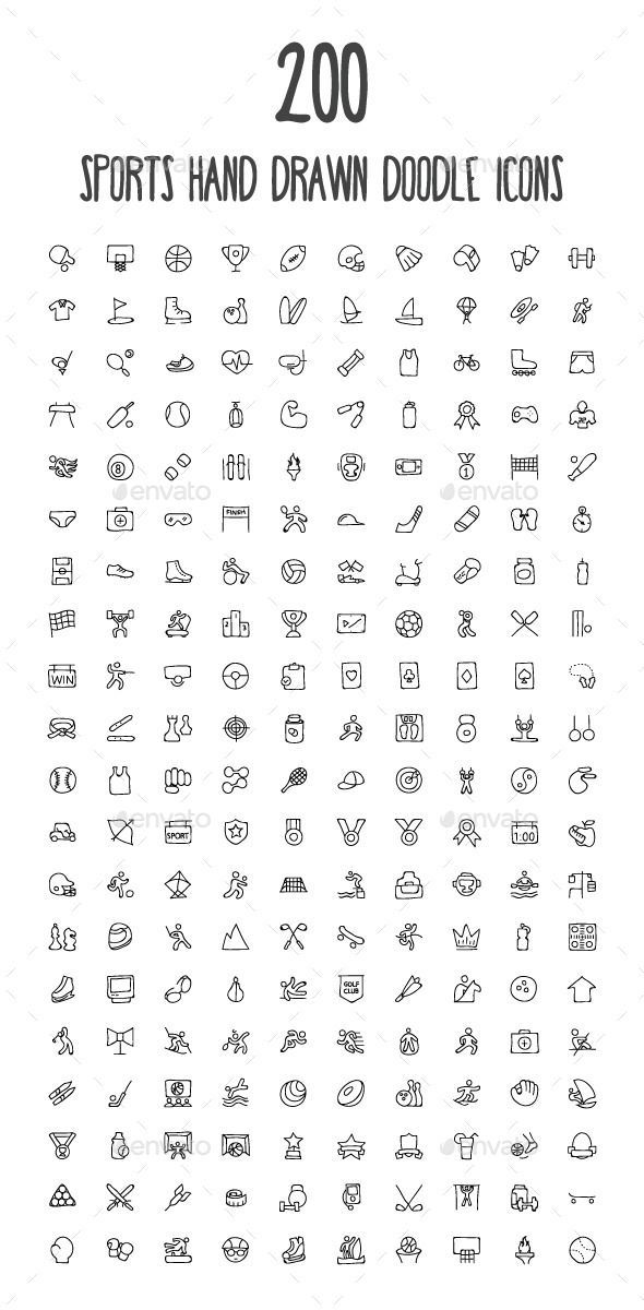 GraphicRiver 200 Sports Hand Drawn Doodle Icons 10583167