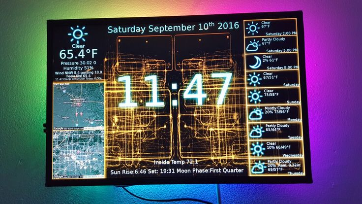"""The PiClock is a clock (duh), weather forcast, and radar map display based on the Raspberry Pi and a display monitor. The display monitor is assumed to be an HDMI monitor, but it will probably (possibly) work with the composite output as well, but this is not a design goal. The main program (Clock/PyQtPiClock.py) will also run on Windows, Mac, and Linux, as long as python 2.7+ and PyQt4 is installed. The Weather data comes from Weather Underground using their API (<a href=""""..."""