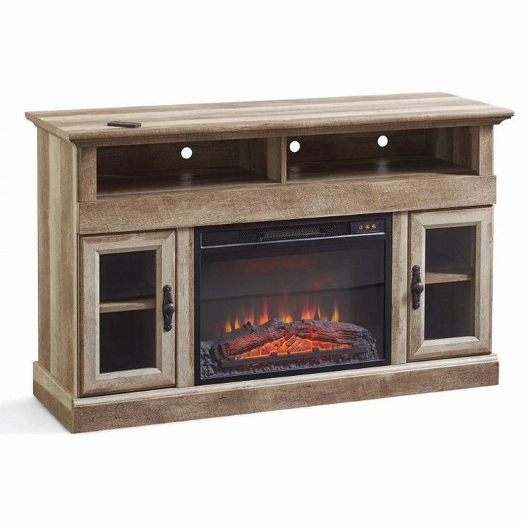 Tv entertainment center fireplace rustic heater media for Tv media storage cabinet