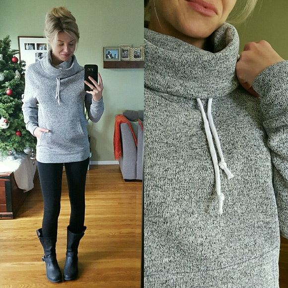 ▪️Uber Soft Cowl Neck Hoodie Brand New, without tags. Excellent condition, Never been worn. Size Large (modeling small) available. This is SO SO soft, has the new sweatshirt feel. It's squishy soft if that makes sense. Stretchy and kangaroo pouch pocket. Comfy and stylish  100% Polyester Tops Sweatshirts & Hoodies