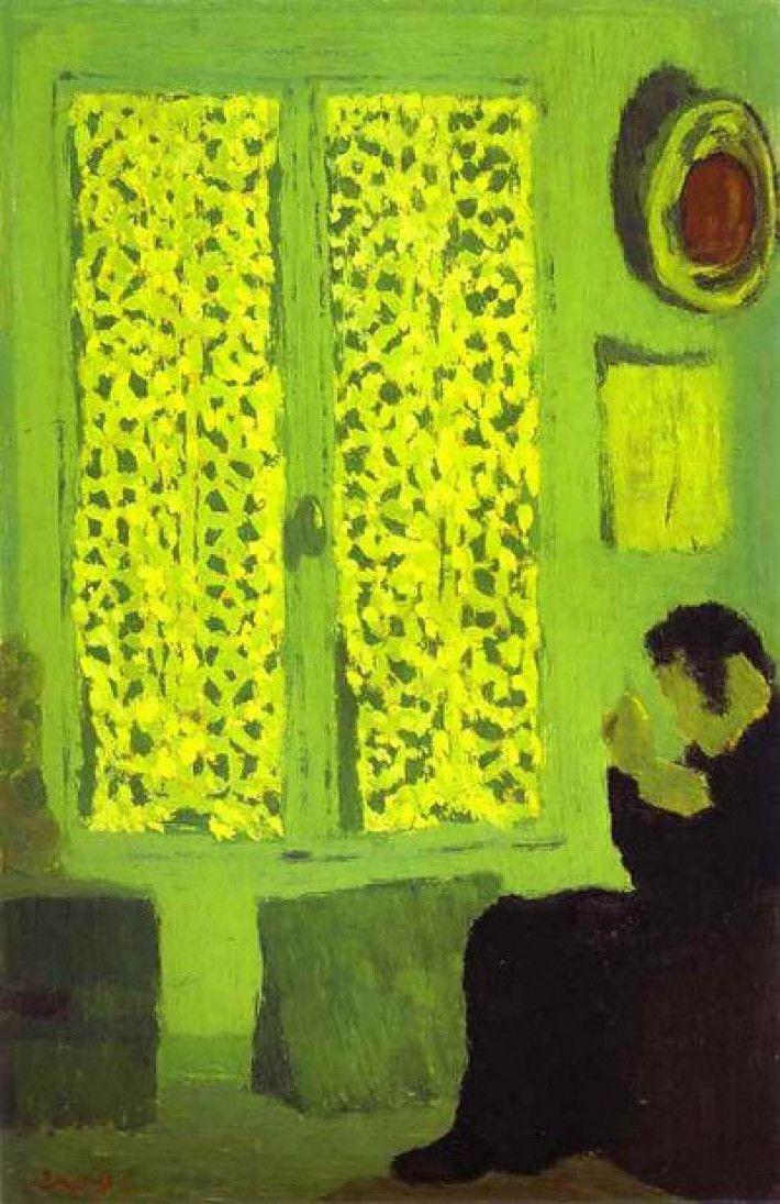 Édouard Vuillard, Groen interieur (of: Figuur vlakbij een raam met gesloten gordijnen) [Franse titel: 'L'Intérieur vert' of: 'Figure auprès d'une fenêtre à rideaux fermés'], 1891, olieverf op hout, 31 x 21 cm, Metropolitan Museum of Art, New York