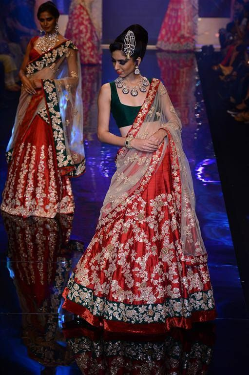 Red and Green ghagra choli