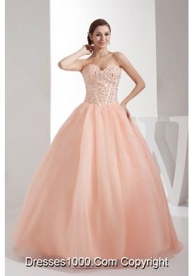 Beading Sweetheart Ball Gown Floor-length Watermelon Quinceanera Dress