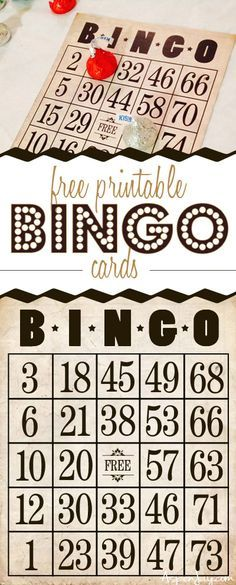 Check out these vintage inspired FREE printable bingo cards! Set of eight and extras to add your own numbers for a larger group. Perfect for a bingo party!!