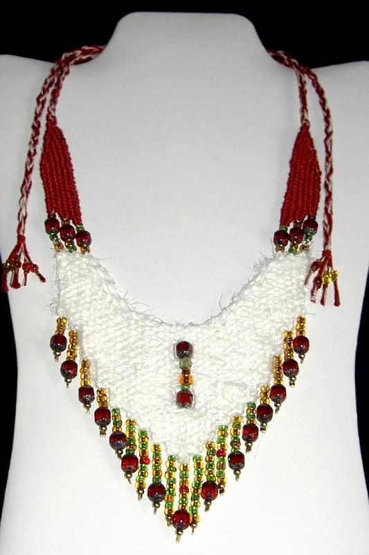 """Tiffany"" - 2011 - Adjustable Length, Crystal Beads, Angora threads, PRIVATE COLLECTION. Woven by Terri Scache Harris, theravenscache.shutterfly.com   Hand woven, handwoven, weaving, weave, needleweaving, pin weaving, woven necklace, fashion necklace, wearable art, fiber art."