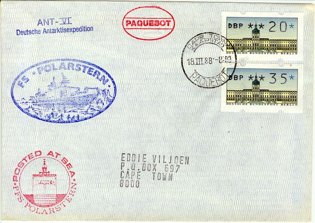 Ant-VI FS - Polarstern Posted at sea German Frama-labels Paquebot Cape-Town