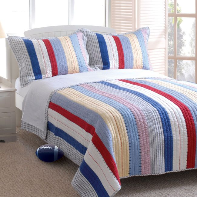 greenland home reversible prairie stripe red white blue yellow quilt set twin