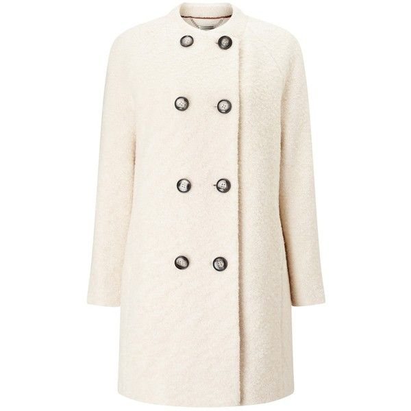 Windsmoor Boucle Wool Coat, Ivory found on Polyvore featuring outerwear, coats, wool boucle coat, pink coat, patterned wool coat, long sleeve coat and white winter coat