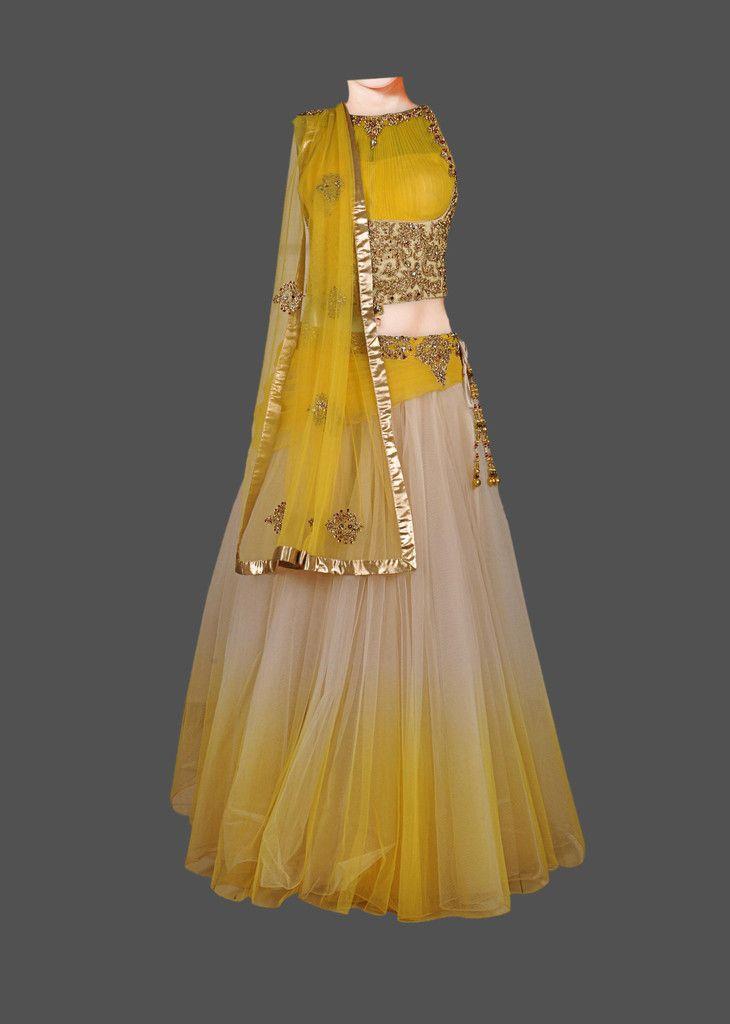 Yellow and gold shaded lehenga choli