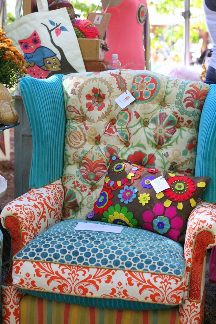 Patchwork upholstery makes a Statement.  Maybe just an ottoman?