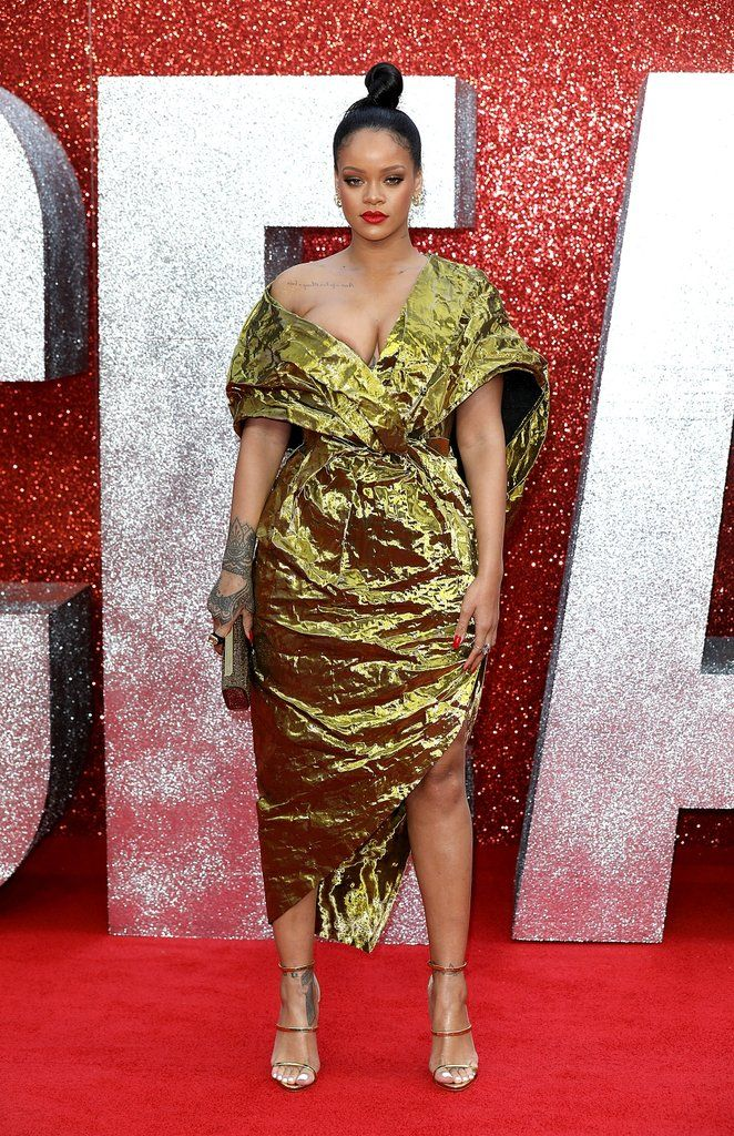 413910bc6a70 Rihanna s Gold Dress at Ocean s 8 Premiere in London
