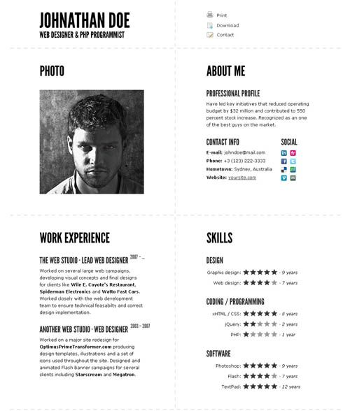 Typographic CV – impressive resume template  Typographic CV is online resume / CV template. It was created to impress your future employers or clients. And it definitely will: strong typographic design, good visual hierarchy, unique layout, cool gallery section and much more. Please see the full list of features below.