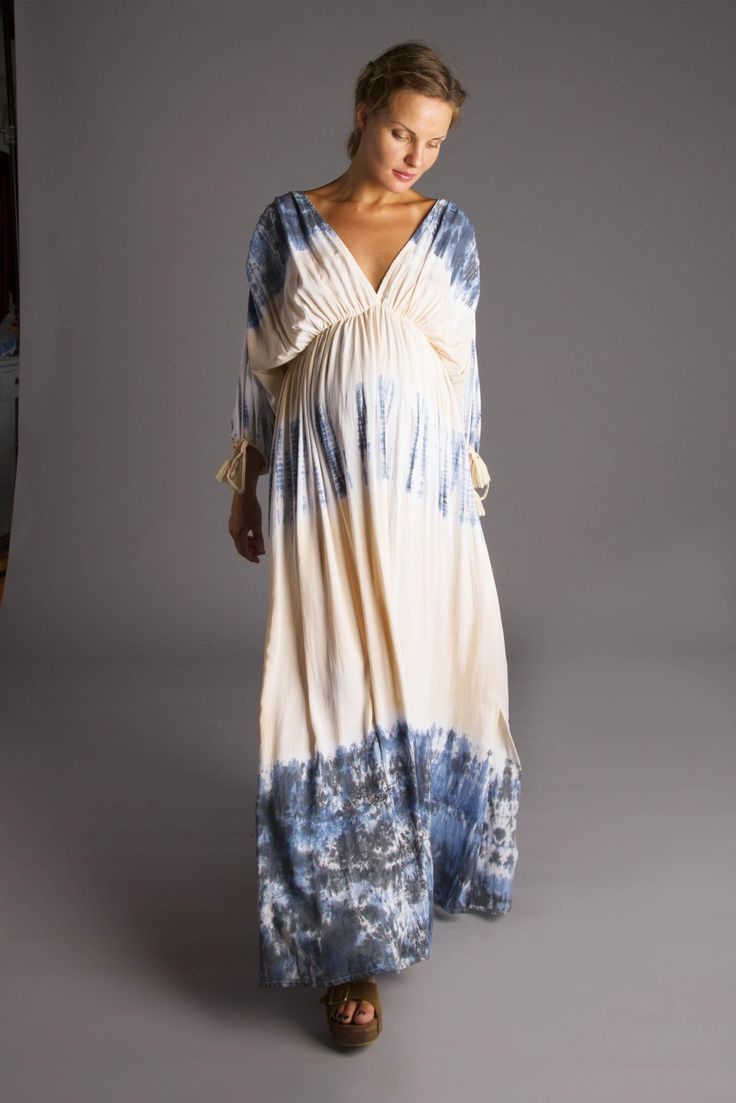 Fillyboo tie dye maxi t-shirt dress with plunge front keyhole