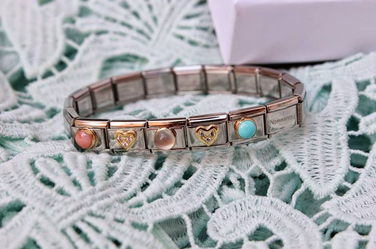 Nomination bracelets look gorgeous with a few semi precious stone charms, we love the turquoise charm!