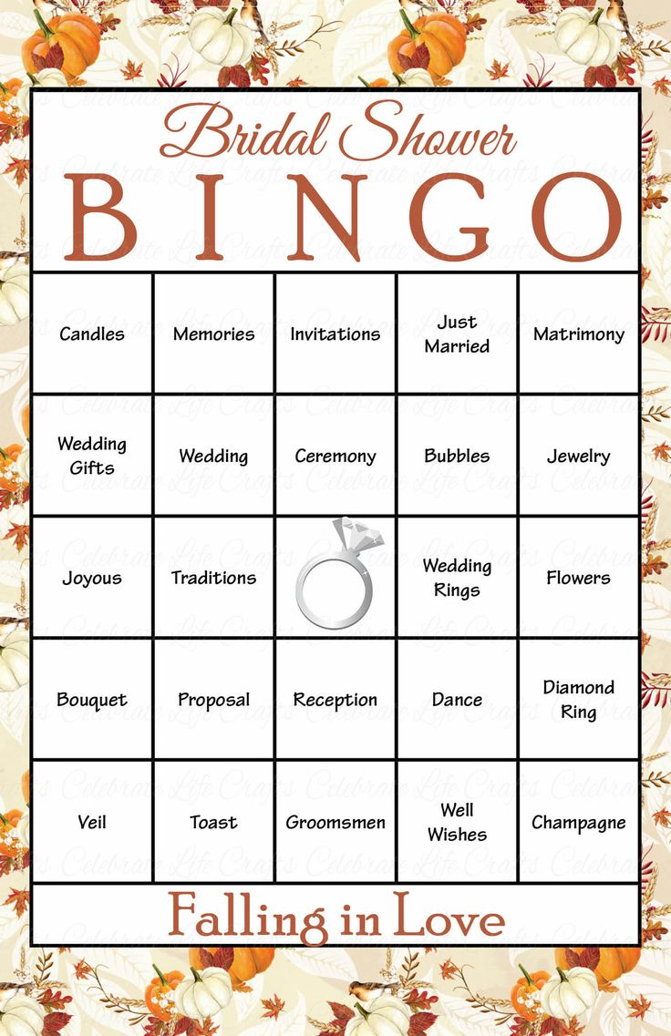 30 Falling In Love Bridal Bingo Cards