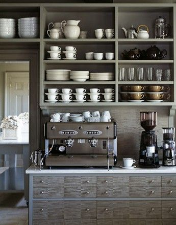 Martha Stewart's grey kitchen -- love the open shelves.
