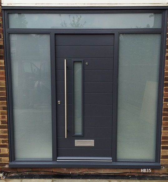 grey contemporary door and frame with toplight and sidelights made to measure uk delivery and installation