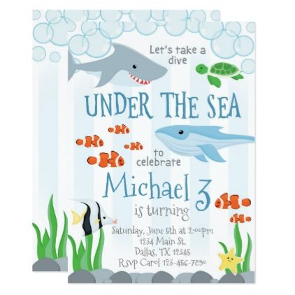 Under the Sea Animal Birthday Party Invitation - rsvp gifts card cards diy unique special