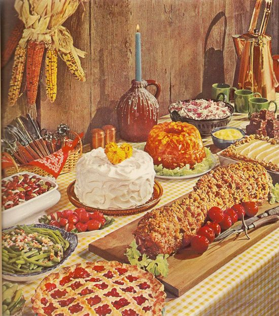 Vintage 1960s General Foods Cookbook Dinner Party 60s midcentury kitsch kitschy festive special occasion meal jell-o cake meat log weird gro...