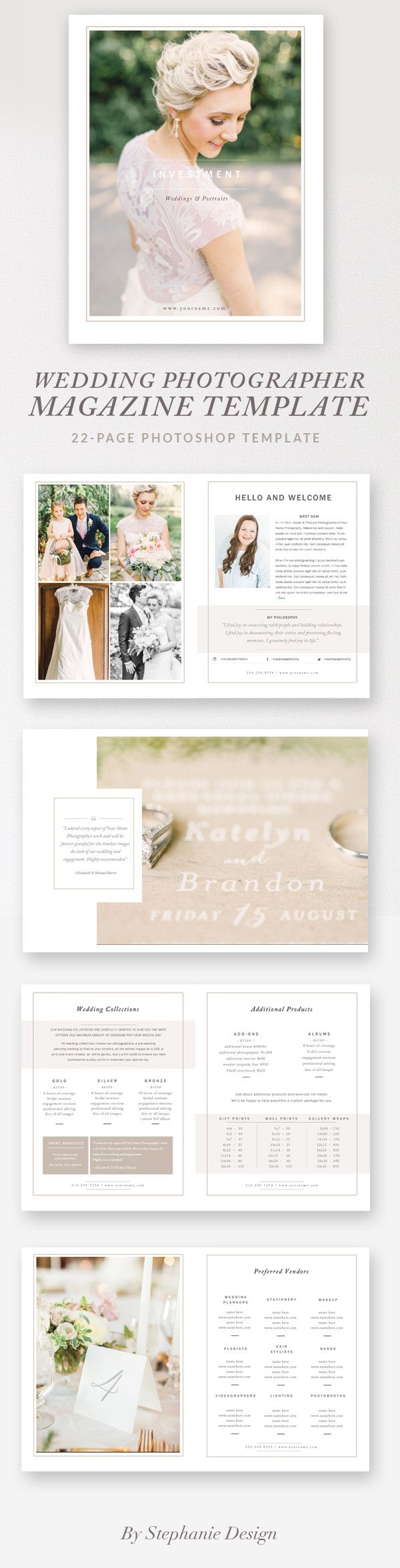 Make a great first impression and delight customers with this modern, high-end wedding photography magazine template. Use pages in this magazine format or incorporate individually into your presentation folder. This 22-page template gives your studio a branded look and feel, allowing you to showcase your portfolio and services at an affordable price. Includes everything you need to inform your clients and can also be edited to fit your style.