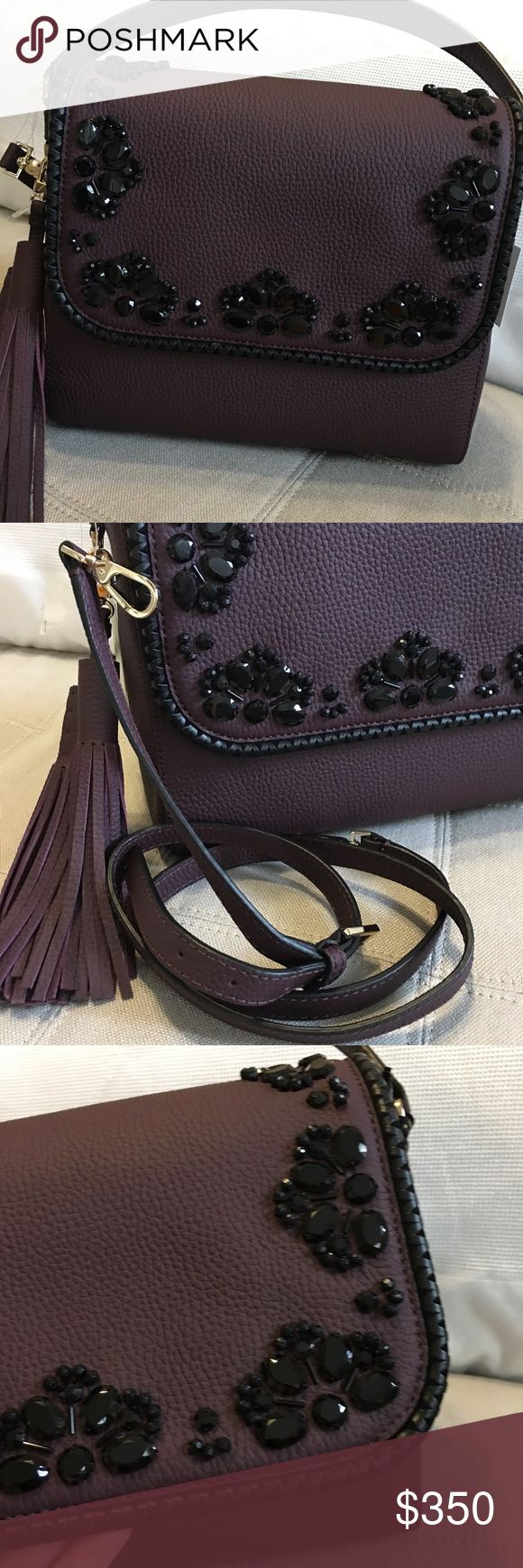 "NWT Kate Spade - Anderson Way Coralie Handbag Brand New with tags! Kate Spade ""Anderson Way"" Coralie and the name of the color is Mahogany! It's a deep purple plum color! Beautiful and stunning color with black stones on the front 💕. Comes with detachable strap to make it a Crossbody and strap is adjustable as well! Price is definitely negotiable and I'm always open to all offers. Measurements: 9.5 inches tall, 11 inches wide, 5 inches deep. kate spade Bags"