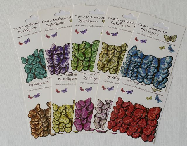32 Butterflies per pack ... 7 large, 10 medium and 15 small... all self adhesive in 10 beautiful bright colours. $4.50 per pack or all 10 for $40, FREE POSTAGE  www.amothersart.com.au