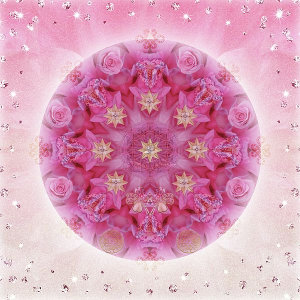 Lots of #Love #Magic #Luck #Gold #Glitter and #Abundance in this #Mandala created from beautiful #pink #roses http://alicia-kent.pixels.com/featured/auspicious-adoration-alicia-kent.html