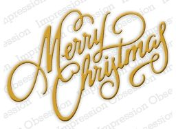 """Merry Christmas - $10.49  Merry Christmas written in cursive by Impression Obsession. 2 1/4"""" x 3 1/4"""""""