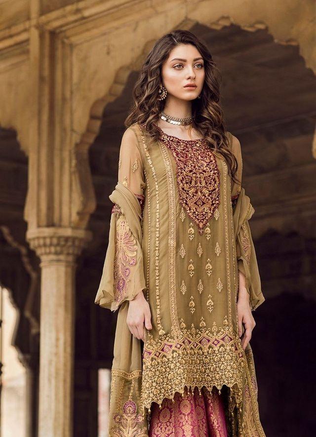 fbef24ecf8 Olive, Maroon & Gold suit Pakistani Couture, Pakistani Outfits, Pakistani  Bridal Dresses,