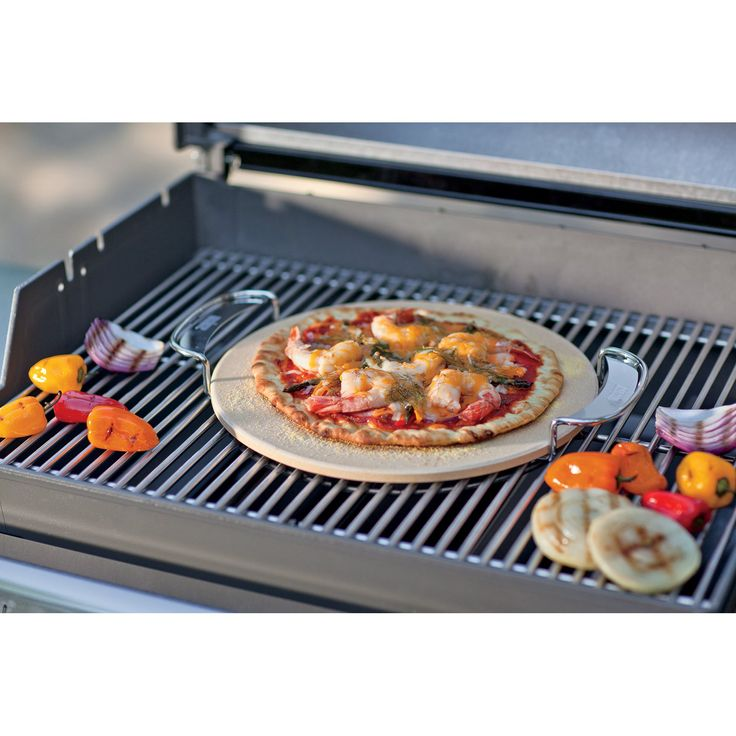 Weber Gourmet BBQ System 14 in. Pizza Stone with Carry Rack - The Weber Gourmet BBQ System 14 in. Pizza Stone and Carry Rack, its ideal for pizza or baking outdoors on your Weber grill. Round shape baking sto...
