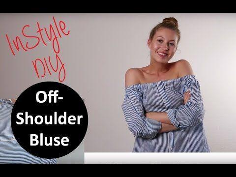 DIY Tutorial: Off-Shoulder-Bluse aus einem alten Männerhemd - YouTube