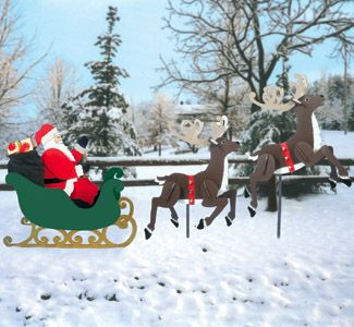 Large sleigh santa reindeer pattern set christmas diy for Christmas outdoor decoration patterns