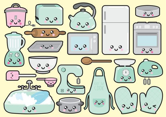 Premium Vector Clipart Kawaii Kitchen by LookLookPrettyPaper