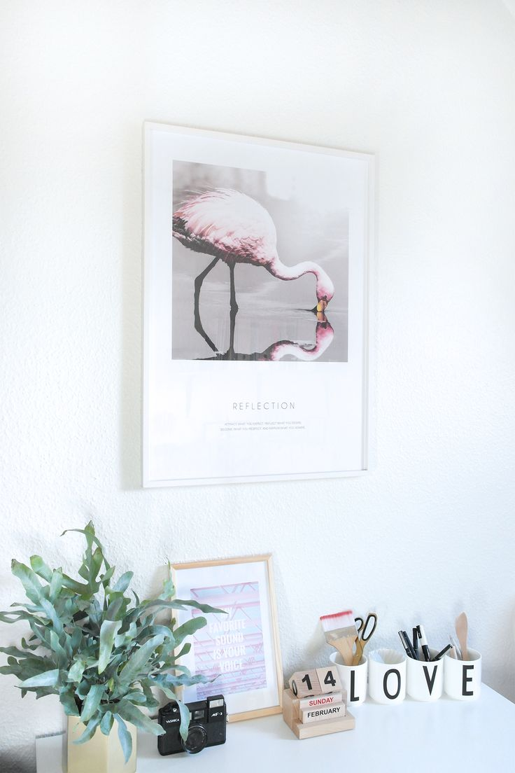 Beautiful poster from Desenio in my office.  Flamingo poster - reflection