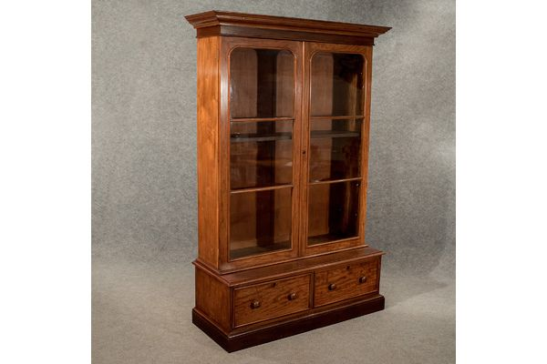 #Antique Large Display Bookcase Cabinet Mahogany Victorian, C1860 >>