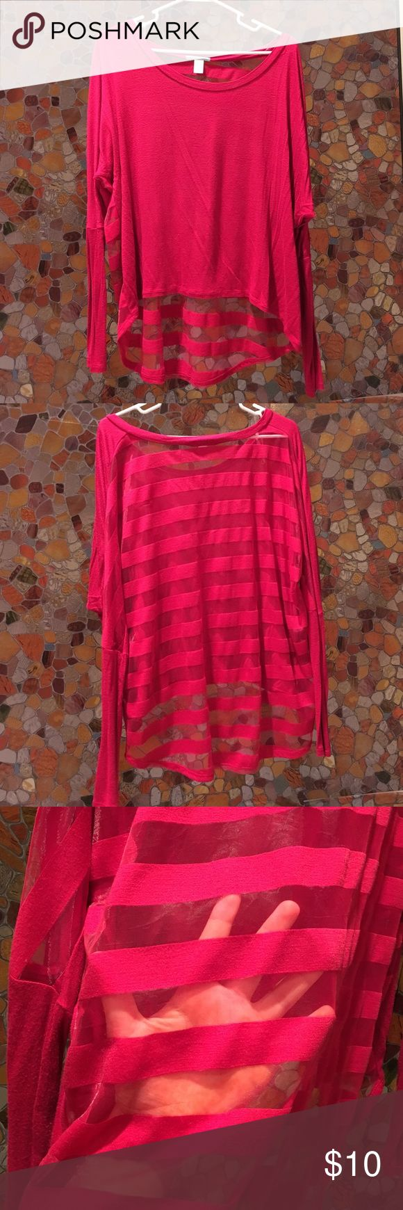 Hot pink top Top is hot pink with striped mesh back. Material is super soft and high low. Tops Blouses