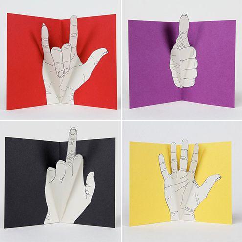 DIY Idea: Hand Gesture Pop-Up Greeting Cards   Man Made DIY   Crafts for Men   Keywords: etsy, store, shop, hand