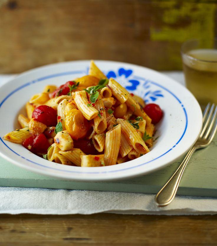 Halloumi, cherry tomatoes, oregano and flecks of chilli combine to make a stunning midweek pasta supper