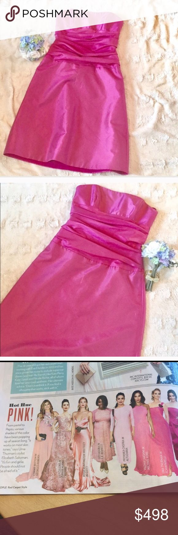 Amsale strapless dress hot pink SZ 6 Amsale Strapless hot pink  Dress. Size 6. Excellent used condition. One of the the most upscale bridal designers for a fraction of the original price! Perfect dress for prom,  bridesmaid or maid of honor. amsale Dresses Strapless