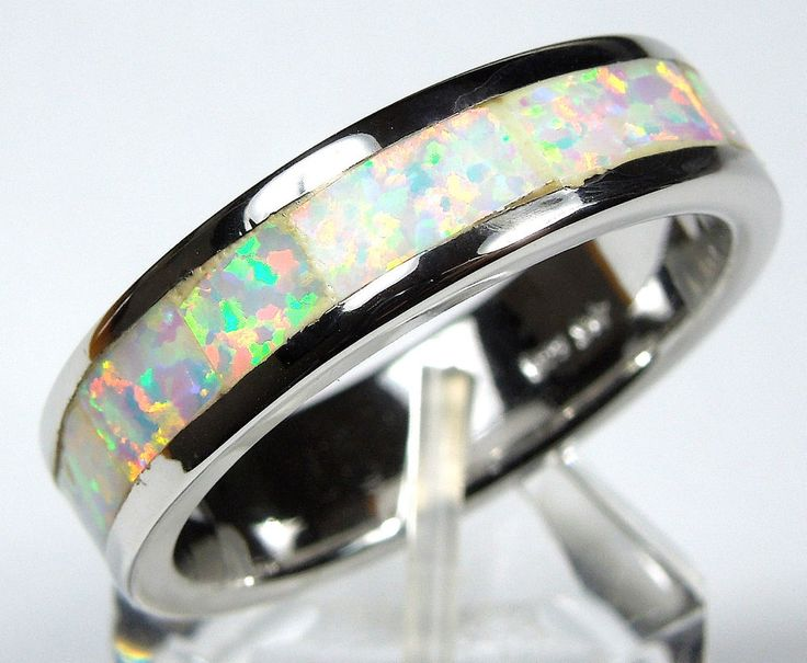White Fire Opal Inlay 925 Sterling Silver Eternity Band