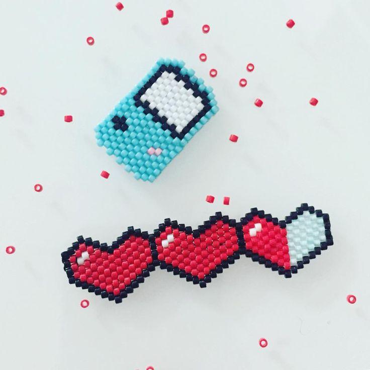 """68 mentions J'aime, 4 commentaires - Adeline M (@lesbijouxacidules) sur Instagram : """"Geek brick stitch ❤️ #brickstitch #miyukibeads #geek #jenfiledesperlesetjassume #nintendo #gamer…"""""""