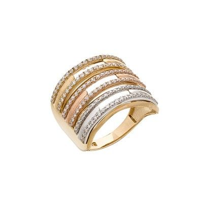 Rose gold, white gold & gold ring with zirconia