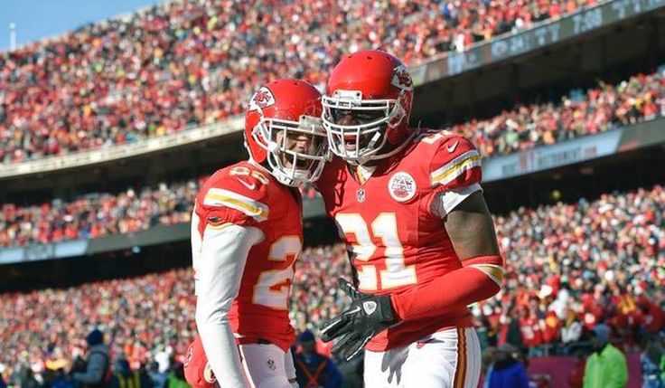 Kansas City Chiefs cornerback Sean Smith (21) and cornerback Phillip Gaines (23) celebrate after a fourth down pass was incomplete allowing the Chiefs to take over on downs in the fourth quarter during Sunday's football game against the Seattle Seahawks on November 16, 2014 at Arrowhead Stadium in Kansas City, Mo.