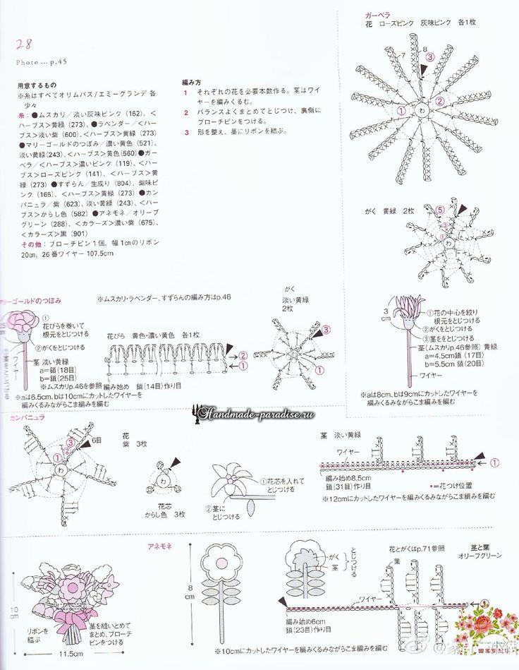 Миниатюрные букетики цветов крючком. Схемы (12)