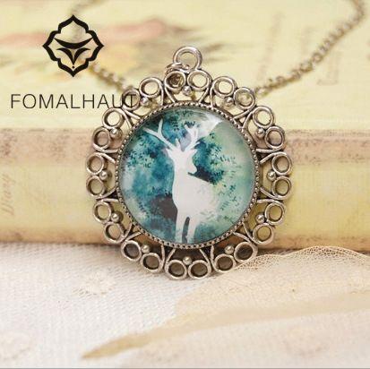 Hot Fashion Hand-painted Elk Time Glass Gem Necklace 70cm Long Strip Chain Pendant Necklaces Women FOMALHAUT Jewelry SX-45 #Affiliate