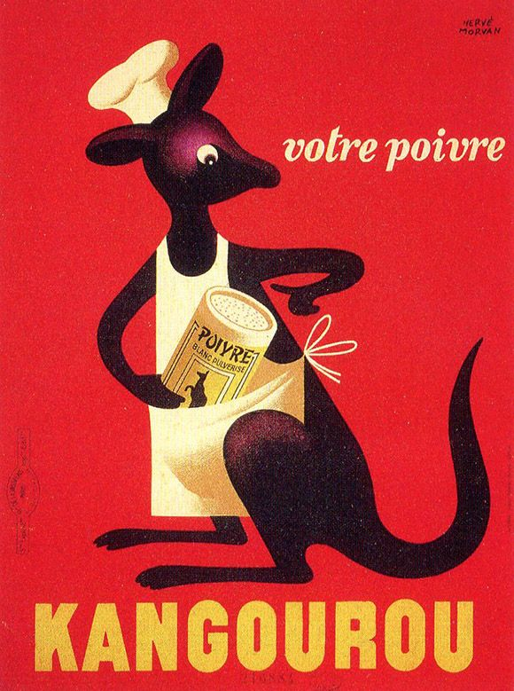 Kangaroo Pepper: artwork by Herve Morvan (1917-1980), a great French poster artist and designer