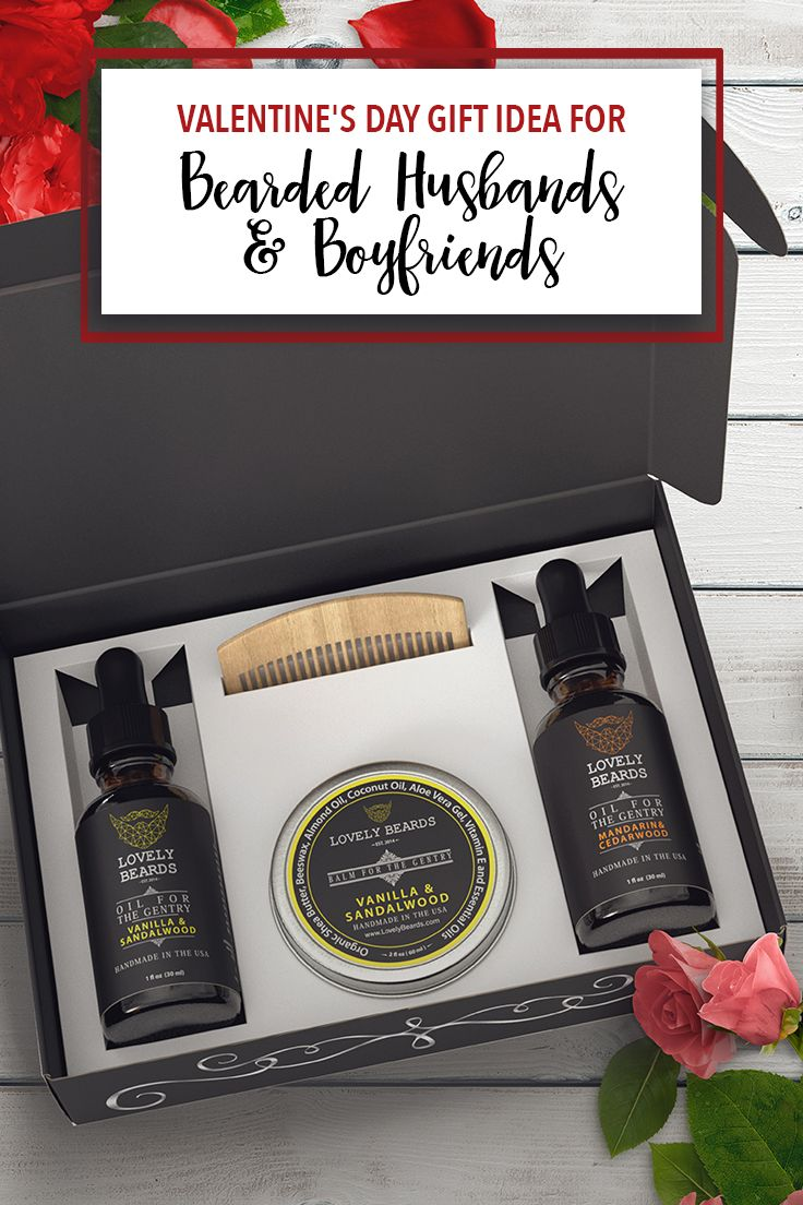 Organic beard products from Lovely Beards. Gift Box includes scented beard oil, beard balm & a comb.